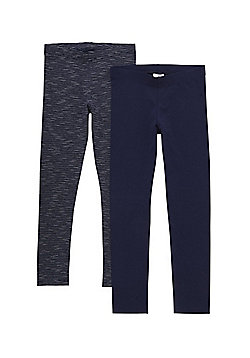 F&F 2 Pack of Plain and Striped Leggings with As New Technology - Navy