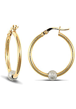 Jewelco London 9ct Yellow Gold polished hoops with spinning frosted White Gold glitter Ball