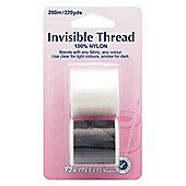 Hemline Invisible & Smoke Nylon Sewing Threads 200m (2 Spools)