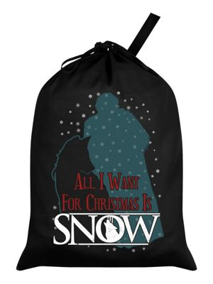 All I Want For Christmas Is Snow Black Santa Sack 46x60cm