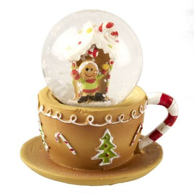 Mini Gingerbread Tea Cup Snow Globe