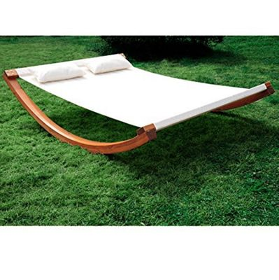 Outsunny Garden Wood Frame Hammock Swing Bed