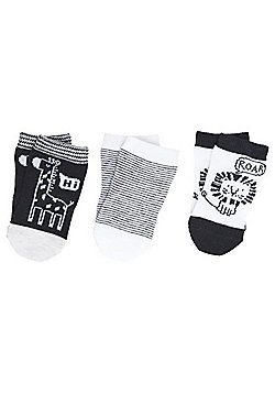 F&F 3 Pair Pack of Monochrome Ankle Socks - Grey/Multi