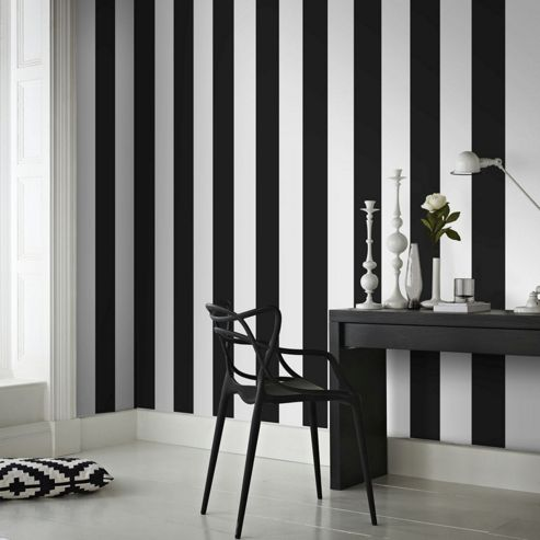 Superfresco Easy Paste The Wall Rayure Stripe Black/White Wallpaper
