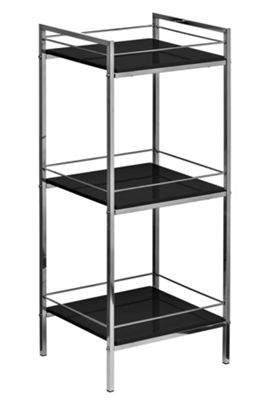Premier Housewares Three Tier Shelf Unit - Black High Gloss