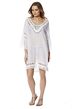 F&F Pom Pom Crochet Trim Beach Kaftan - Cream