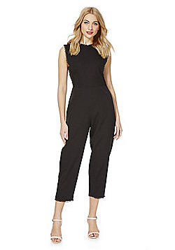Fashion Union Picot Trim Sleeveless Jumpsuit - Black