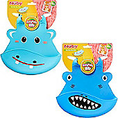 Nuby Roly Poly Animal Face Bib│Easy Wipe Clean│Soft-flex Material│Easy Storage