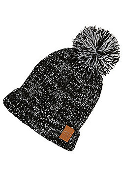 F&F Reflective Knitted Bobble Hat - Black