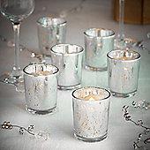 VonHaus Vintage Glass LED Tea Light & Holder Set of 6 - Mercury Silver