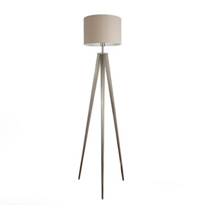 Nero Large Brushed Chrome Tripod Floor Lamp & Beige Rolla Shade