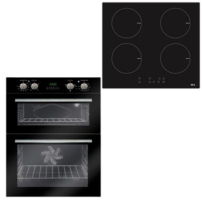 SIA 60cm Black Double Electric Built Under Fan Oven & 4 Zone Induction Hob
