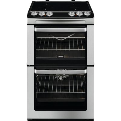 Zanussi ZCV554MX 550mm Double Electric Cooker Ceramic Hob, Stainless Steel