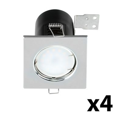 4 x Square Fire Rated GU10 Downlights, Chrome