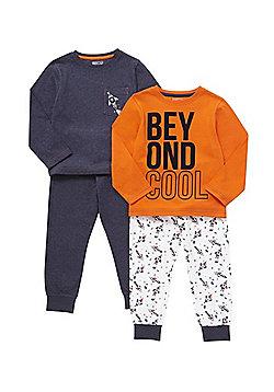 F&F 2 Pack of Slogan and Rocket Print Pyjamas - Orange