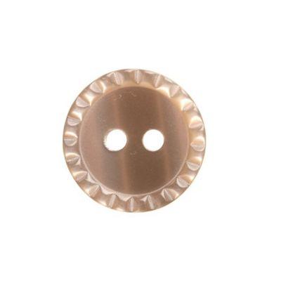 Hemline Two Hole Decorative Rim Brown Buttons 17.5mm 4pk