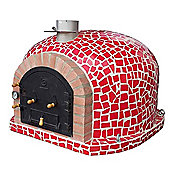 Outdoor Wood Fired Pizza Oven - Mediterrani Royal Red Mosaic