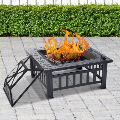 Outsunny Metal Fire Pit Patio Heater Outdoor Stove Brazier Table w/ Enclosure Cover