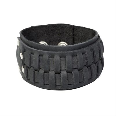 Urban Male Denver Black Leather Men's Cuff Style Bracelet 40mm