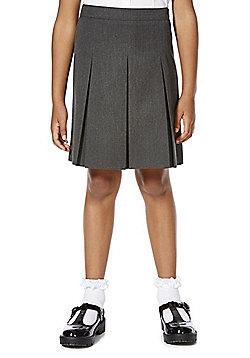 F&F School Girls Permanent Pleat Plus Fit Skirt - Grey