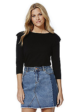 F&F Frill Shoulder Jumper with As New Technology - Black
