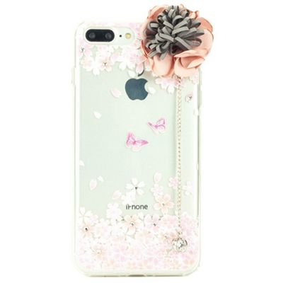iPhone 7 Plus TPU Case with Silk Rose Applique and Diamante Charm - Pink