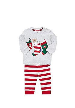 F&F Stockings Striped Christmas Pyjamas - Grey