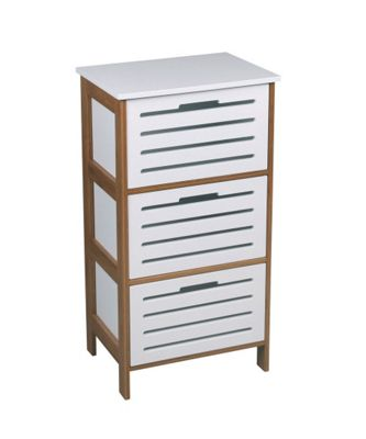 Stanford 3 Drawer Bathroom/Bedroom Cabinet- Bamboo-White