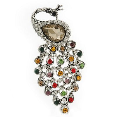 85f3089d02e Vintage Inspired Multicoloured Swarovski Crystal 'Peacock' Brooch In Silver  Tone - 63mm Length Catalogue Number: 141-1252