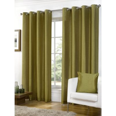 Hamilton McBride Faux Silk Lined Eyelet Green Curtains - 66x54 Inches (168x137cm)