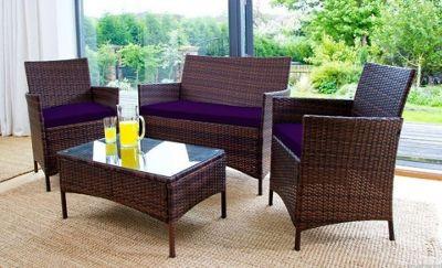 Gardenista 3 Piece Seat Pad Set for Rattan Patio Furniture Set - Purple