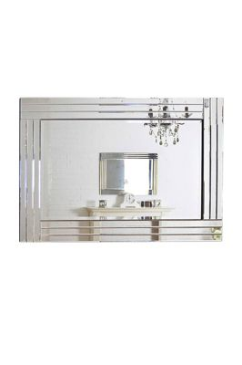 Large Silver Bevelled Modern All Glass Wall Mirror 3Ft11 X 2Ft8 120Cm X 80Cm