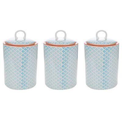 Nicola Spring Porcelain Biscuit Cookie Barrel Jar in Blue / Orange Print - Pack of 3