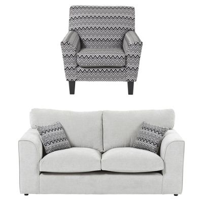 Hardy Accent Chair + 2.5 Seater Sofa Set, Grey