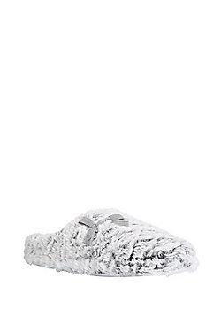 F&F Faux Fur Mule Slippers - Grey