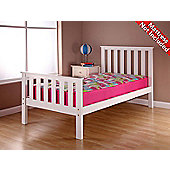 Airsprung Napoli Wooden High Foot End Bed Frame - White - Single 3ft - No Drawers