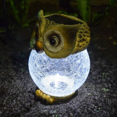 Solalite Solar Powered Owl With Crackle Glass Ball Globe Light