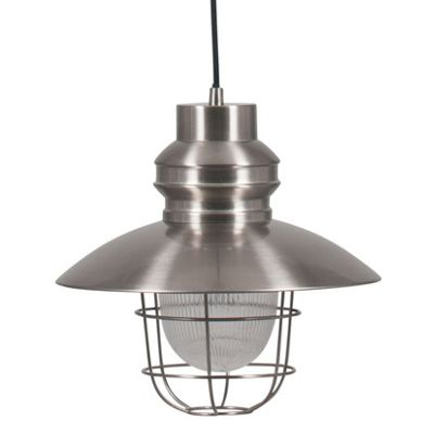 Satin Nickel Metal Electrified Pendant with Cage