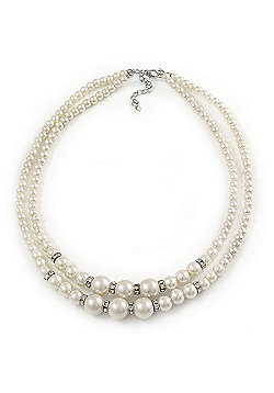 Two Row White Simulated Glass Pearl Beads with Crystal Rings Necklace - 50cm L/ 3cm Ext