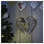 Large Pre Lit Silver Rattan Heart Christmas Wreath