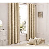 Serene Ebony Duck Egg Eyelet Curtains - Natural