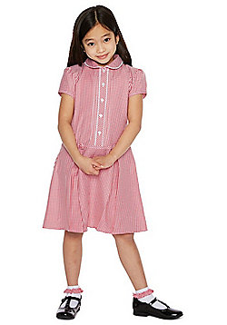 F&F School Girls Easy Care Gingham Dress with Scrunchie - Red
