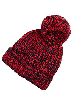 F&F Chunky Knit Bobble Hat - Red