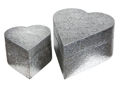 Chaandhi Kar Silver Embossed Boxes - set of 2