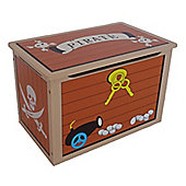 Kiddi Style Childrens Pirate Themed Wooden Treasure Chest Toy Box - Brown