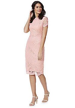 AX Paris Crochet Lace Cap Sleeve Pencil Dress - Pink