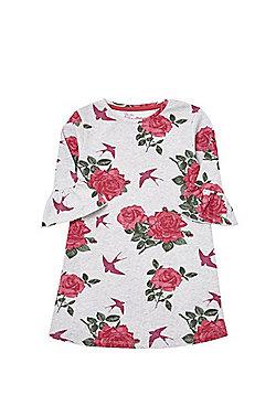 F&F Rose Print Flute Sleeve Jersey Dress - Grey