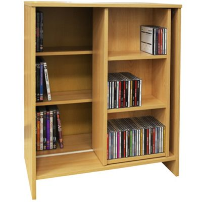 SLIDE - Media Storage Bookcase / Display Shelves - Oak