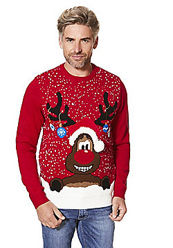 F&F Reindeer Face Light-Up Christmas Jumper - Red
