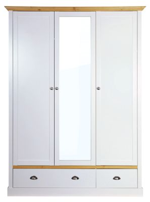 Steens Sandringham 3 Door 2 Drawer Wardrobe Oak/Grey